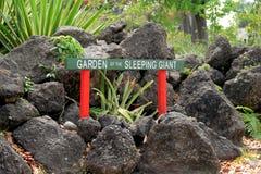 Hellgrünes und rotes Zeichen am Eingang zum Garten von schlafen riesige, populäre Anziehungskraft, Fidschi, 2015 Stockbild