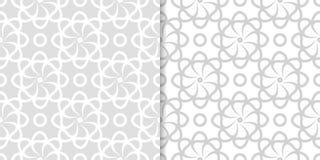 Hellgraue Blumenhintergründe Set nahtlose Muster Lizenzfreies Stockfoto