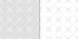 Hellgraue geometrische Drucke Set nahtlose Muster Stockfotografie