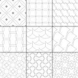 Hellgraue geometrische Verzierungen Ansammlung nahtlose Muster Stockbilder