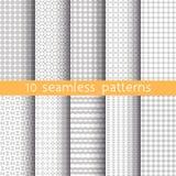 10 hellgraue nahtlose Muster für Universalhintergrund Graue und weiße Farben Lizenzfreie Stockfotografie