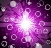 Helligkeits-Hintergrund-Shows, die Strahlen und Kreise blenden Stockfotos