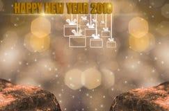 Helligkeits-Thema des Goldes, 2019 guten Rutsch ins Neue Jahr mit funkelndem goldenem hellem bokeh und funkelndem Hintergrund und stockfotografie