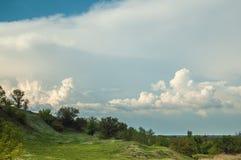 Helling met groene bomen tegen de blauwe hemel Stock Foto's