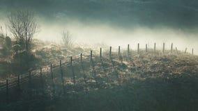 Hellingsomheining in mist Stock Foto's