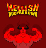 Hellish bodybuilding. Satan with big muscles. Fitness in hell. S Stock Photos