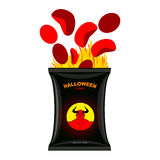 Hellish chips for Halloween. Packing snacks with Satan. Hellfire Stock Image