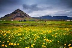 Hellnar渔村,冰岛风景看法  图库摄影