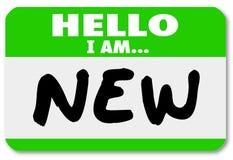 Hello är jag den nya deltagaren i utbildning för Nametagklistermärkenybörjaren Royaltyfri Bild