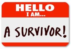 Hello är jag en överlevandeNametag som fortlever sjukdomihärdighet Royaltyfri Fotografi