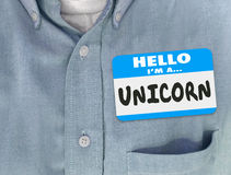 Hello är jag en Unicorn Name Tag Blue Shirt Royaltyfri Foto
