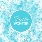 Hello övervintrar abstrakt bakgrundsdesign med snöflingor och snöar Arkivbild