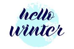 Hello övervintrar bokstäver tecknad hand abstrakt bakgrundsbluecirkel stock illustrationer