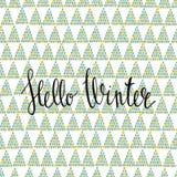 Hello övervintrar den handlettering inskriften Vintersäsongkort Arkivbilder