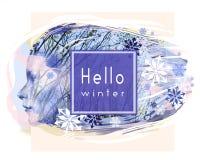 Hello övervintrar kortet Profil av en härlig kvinnaframsida mot träd och snöflingor Vintern är kommande Arkivbilder