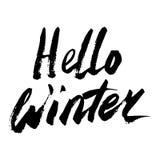 Hello övervintrar samlingstext vektor bokstäver Teckna förbi handen Överskriftborste bokstäver Royaltyfri Fotografi