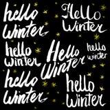 Hello övervintrar samlingstext vektor bokstäver Teckna förbi handen Överskriftborste bokstäver Royaltyfri Bild