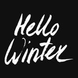 Hello övervintrar samlingstext vektor bokstäver Teckna förbi handen Överskriftborste bokstäver Fotografering för Bildbyråer