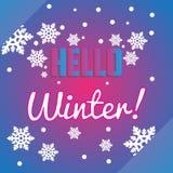 Hello övervintrar snöflingor och bokstäversammansättningsreklambladet eller banne Royaltyfri Foto