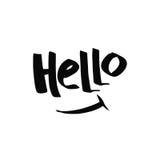 hello Γραπτή εγγραφή διακοσμητική επιστολή Συρμένη χέρι εγγραφή απόσπασμα Στοκ φωτογραφίες με δικαίωμα ελεύθερης χρήσης