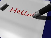 Hello. Pen writting hello! on a piece of paper Royalty Free Stock Photos