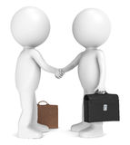 Hello. 3D little human character X2 shaking hands. People series Stock Photos