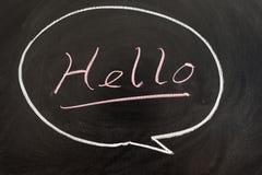 Hello. Word written in a bubble on chalkboard royalty free stock photo