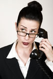 Hello. Retro business woman with vintage phone making a call Stock Photo