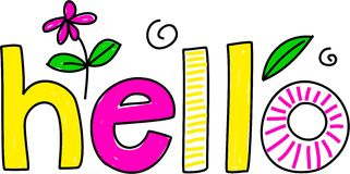 Hello. Whimsical drawing of the word HELLO isolated on white vector illustration