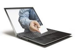 Hello. Hands reaching out of a laptop Royalty Free Stock Image