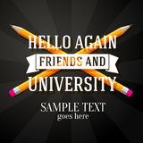 Hello again friends and university greeting with. Two crossed pencils and place for your text Stock Photos