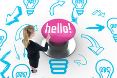 Hello! against pink push button Royalty Free Stock Photos