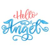 Hello Angel quote. Baby shower hand drawn calligraphy script, grotesque stile lettering phrase stock photo