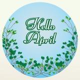Hello April bokstäver på blå bakgrund med trädfilialer Arkivfoto