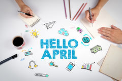 Hello april, Business concept. The meeting at the white office table Royalty Free Stock Photo
