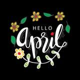 Hello April hand lettering calligraphy. Black background stock illustration