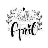 Hello April. Hand lettering calligraphy royalty free illustration