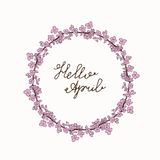 Hello April hand lettering with sakura wreath. Floral spring greeting card Royalty Free Stock Photography