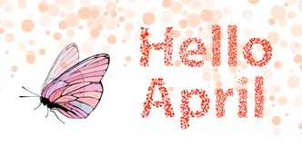 Hello April inscription. on white Royalty Free Stock Images