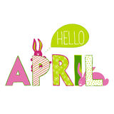 Hello April. Lettering with rabbits. Hello April. Vercor illustration of April month name. Lettering with rabbits royalty free illustration