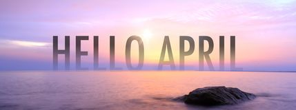 Hello april with nice seaview stock photo