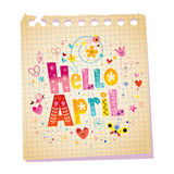 Hello April notepad paper message Stock Photography