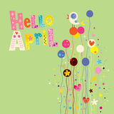 Hello april spring card. With decorative type lettering design Stock Photography