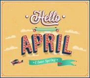 Hello april typografisk design. Fotografering för Bildbyråer