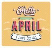 Hello april typographic design. Stock Image