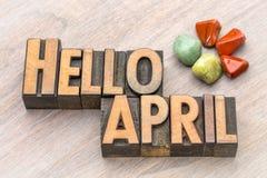 Hello April in uitstekend houten type Royalty-vrije Stock Fotografie