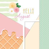 Hello august abstract background with different textures and floral decorative elements. Vector Royalty Free Stock Image