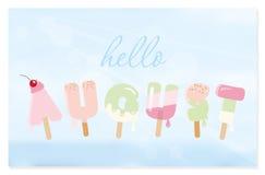 Hello august bokstäver på suddig himmelbakgrund Fotografering för Bildbyråer
