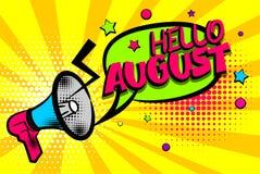 Hello august comic text pop art colored bubble Stock Photo