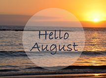 Free Hello August Greeting On Ocean Sunset Background.Summer Concept. Royalty Free Stock Image - 122416506